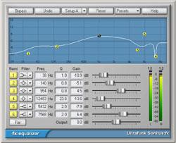 fx:equalizer, l'égaliseur de la suite de plug-ins Ultrafunk Sonitus qu'on retrouve désormais au sein de Cakewalk Sonar 3