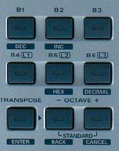 Pavé de touches sur le PCR-1 d'Edirol (Les 6 du haut sont assignables)