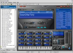 Interface du logiciel Proteus LE, fourni avec l'E-MU Xboard 49