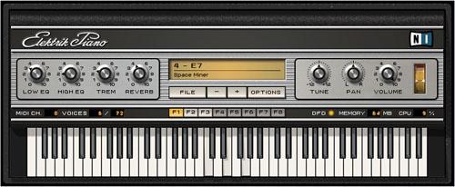 Interface de l'Electrik Piano de Native Instruments