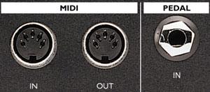 Entrées sorties MIDI et pédale