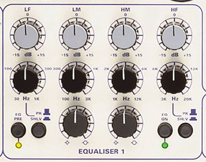 Section d'égalisation sur le TL Audio 5052
